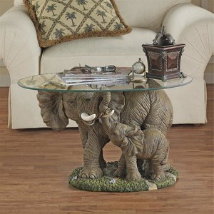 Elephant's Majesty Glass-Topped Cocktail Table