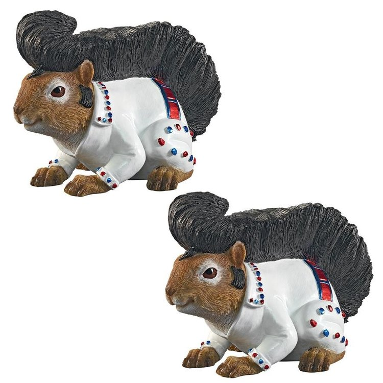 View larger image of Elmer the Rock and Roll Squirrel Garden Statue: Set of Two