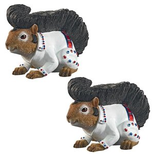 Elmer the Rock and Roll Squirrel Garden Statue: Set of Two