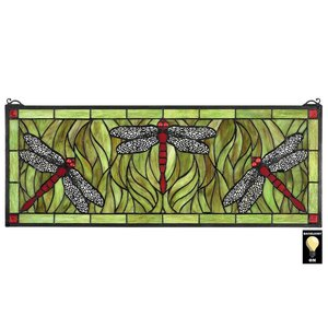 Emerald Green Dragonfly Tiffany-Style Stained Glass Window