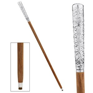 Empress Collection: Dandy Fellow Chrome Solid Hardwood Walking Stick