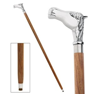 Empress Collection: Playing the ponies, Horse Chrome Solid Hardwood Walking Stick
