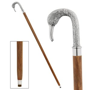 Empress Collection: Silver Swan Chrome Solid Hardwood Walking Stick