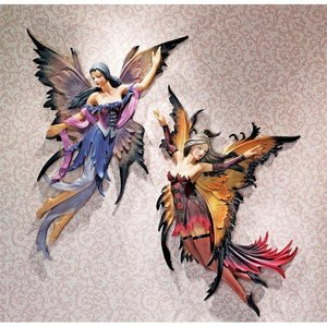 Fairies of the Enchanted Grove Wall Sculptures: Rowan and Willow