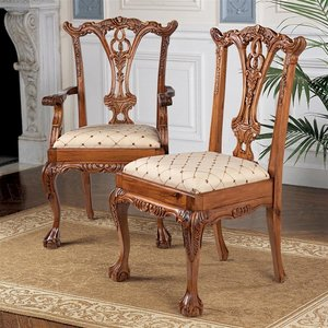 English Chippendale Chairs: Set of Six