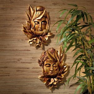 Enlightened Deities Buddha and Guan Yin Wall Sculptures: Set of Two