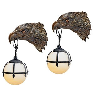 Enlightening Freedom Bald Eagle Sculptural Electric Wall Sconce: Set of 2
