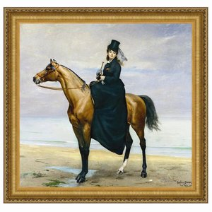 Equestrian Portrait of Mademoiselle Croizette, 1873: Canvas Replica Painting: Small