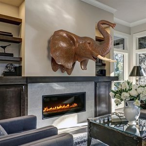 Exotic African Elephant Trophy Head Wall Mount Sculpture