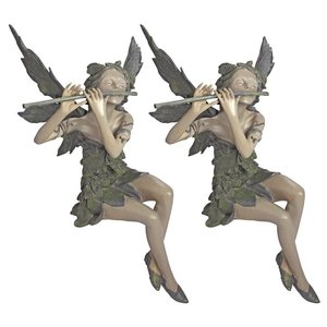 Fairy of the West Wind Sitting Statue: Set of 2