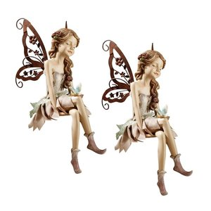 Fannie, the Fairy Sitting Statue: Set of Two
