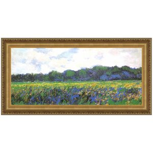 Field of Yellow Irises at Giverny, 1887: Canvas Replica Painting: Large