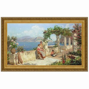 Figures on a Terrace in Capri, Canvas Replica Painting: Large