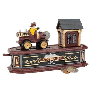 Fire Engine Station Number 1 Collectors' Die-Cast Iron Mechanical Coin Bank