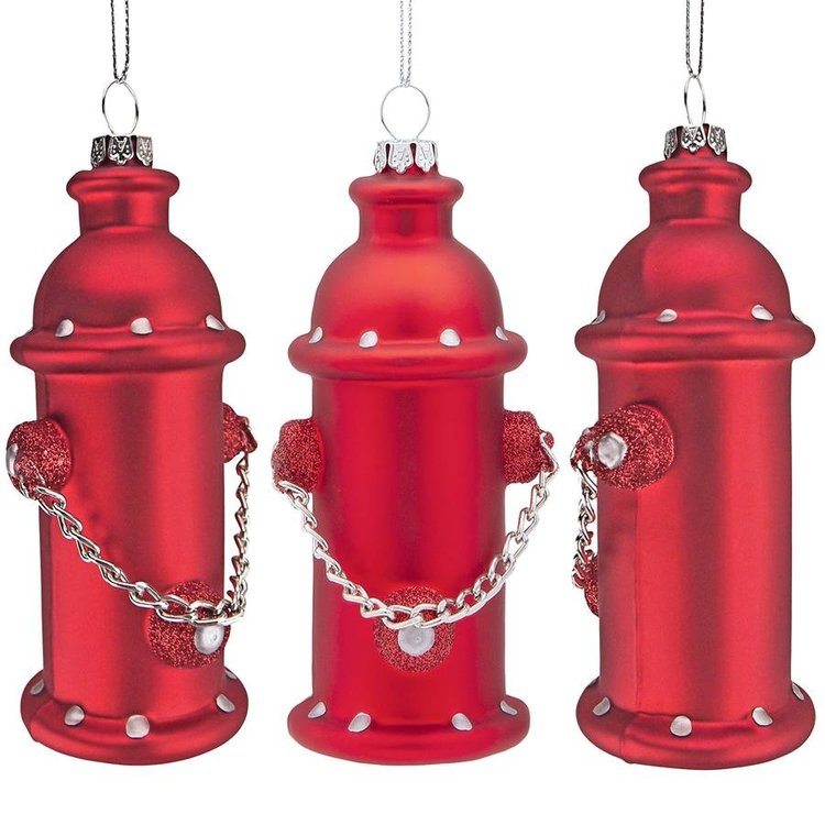 View larger image of Fire Hydrant Blown Glass Holiday Ornament: Set of Three