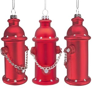 Fire Hydrant Blown Glass Holiday Ornament: Set of Three
