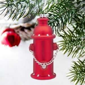Fire Hydrant Blown Glass Holiday Ornament