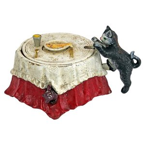 Fish For Cat Die-Cast Iron Mechanical Coin Bank