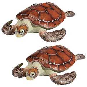 Flat Back Sea Turtle Statues: Set of Two
