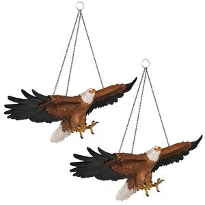 Flight of Freedom Hanging Eagle Sculpture: Set of Two