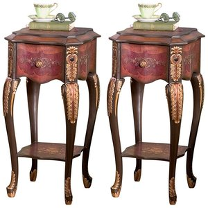 Floral Bouquet Chiffoniere Side Table: Set of Two