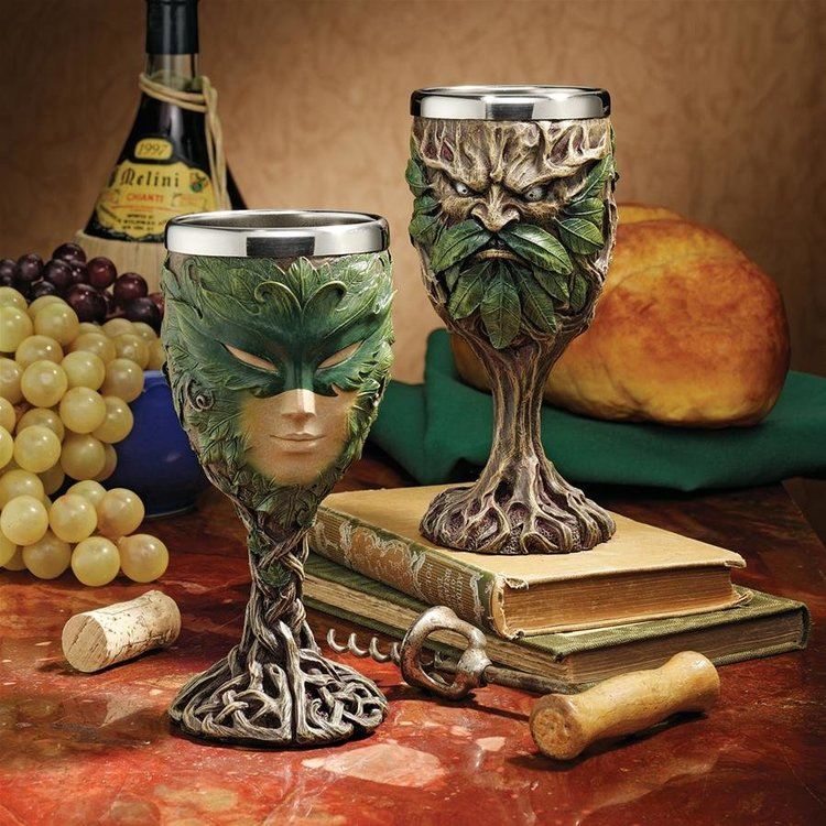 View larger image of Forest Spirits Greenman Goblet Collection: Grendal the Green & Lady of the Leaf