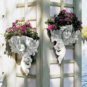 French Greenmen Wall Sculptures Le Printemps and L'Etoile