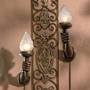 French Neoclassical Arm-Held Sculptural Torch Wall Sconces