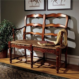French Provincial Ladderback Settee