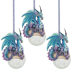 Frost, the Gothic Dragon 213 Holiday Ornament: Set of Three