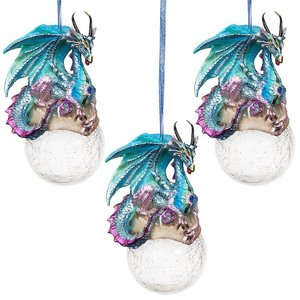 Frost, the Gothic Dragon Holiday Ornament: Set of Three
