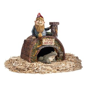 Garden Gnome Frog Toad House Statue