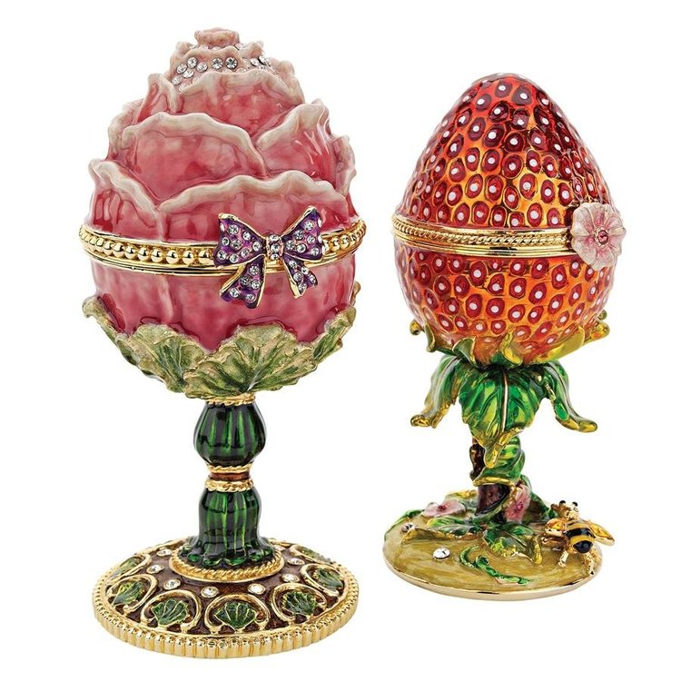 View larger image of Gardens Treasures Romanov Style Enameled Eggs: Set of Two