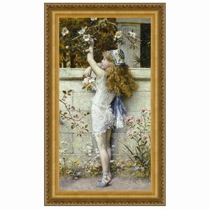 Gathering Flowers: Canvas Replica Painting: Small