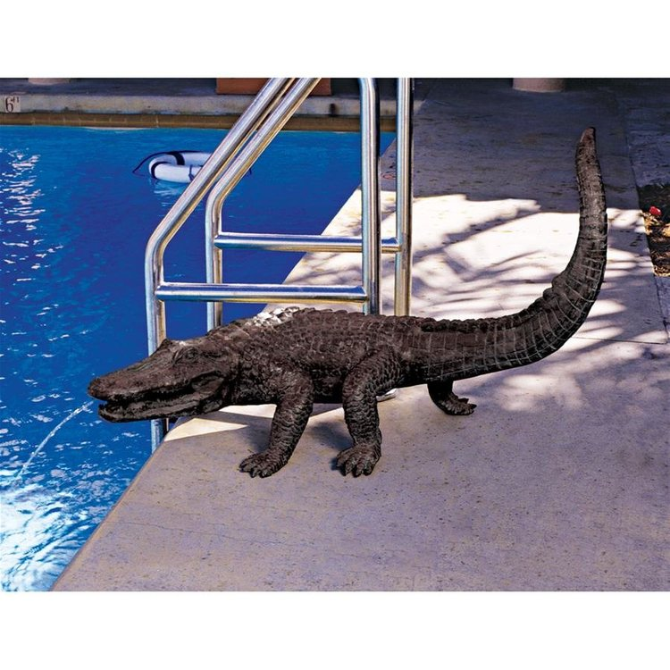 View larger image of Gator on the Prowl: Spitting Bronze Alligator Garden Statue