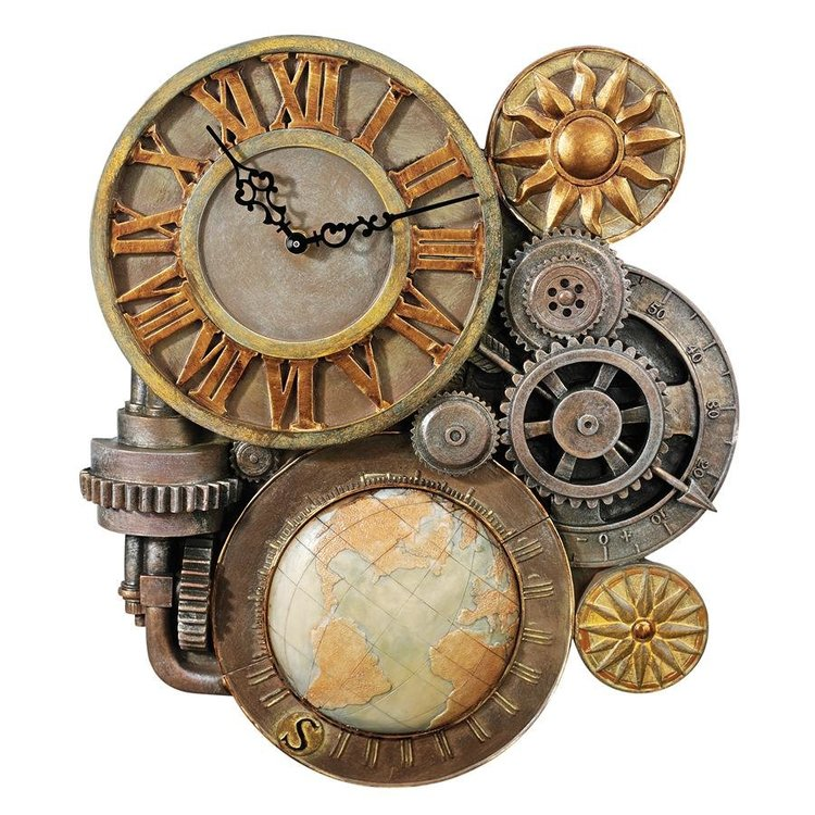 View larger image of Gears of Time Sculptural Steampunk Wall Clock