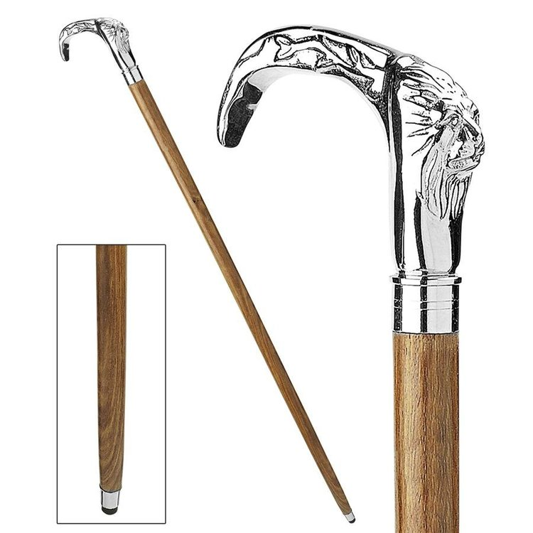 View larger image of Gentlemans Choice Lion Chrome Plated Walking Stick