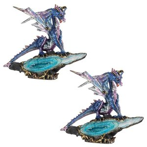 Geode Guardian Gothic Dragon Statue: Set of Two
