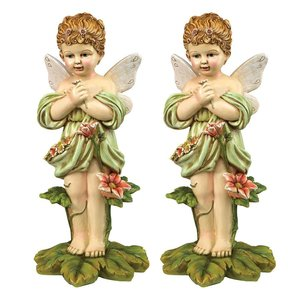 Gertie the English Flower Fairy Statue: Set of Two