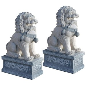 Giant Foo Dog of the Forbidden City Sculpture: Set of Two