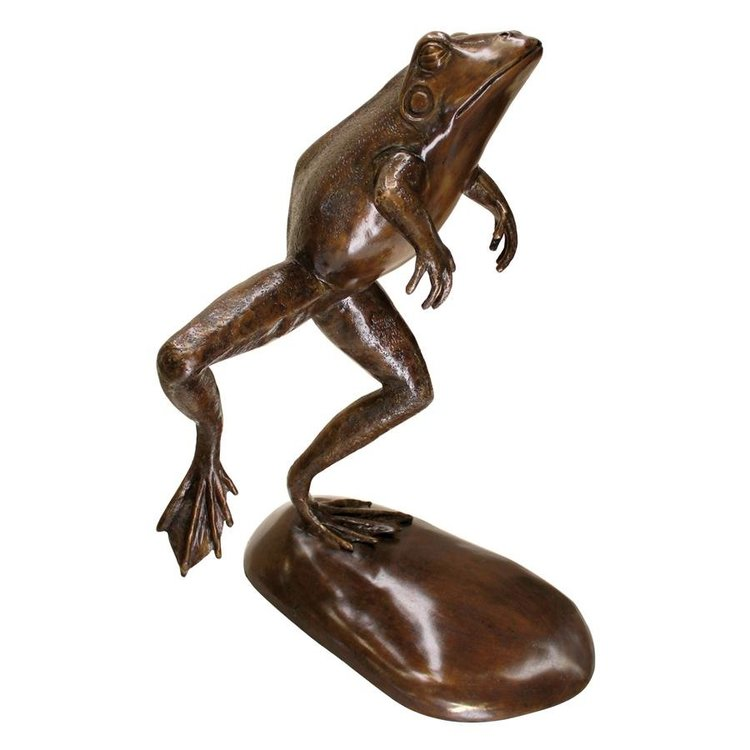 View larger image of Giant Jumping, Spitting, Leaping Frog Bronze Garden Statue: Green Verdigris