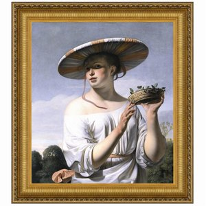 Girl in a Large Hat, 1645: Canvas Replica Painting: Large