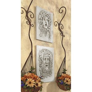 Opimus and Vappa, Gods of the Grapes Italian-style Wall Sculptures: Set of Two Medium