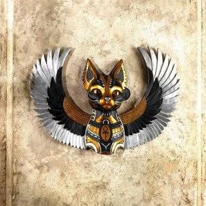 Goddess Bastet, Winged Protector of the People Cat Wall Sculpture