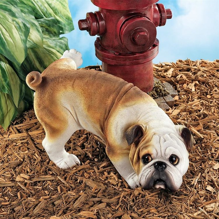 View larger image of Good Dog Gone Bad Peeing English Bulldog Statues: Set of Two