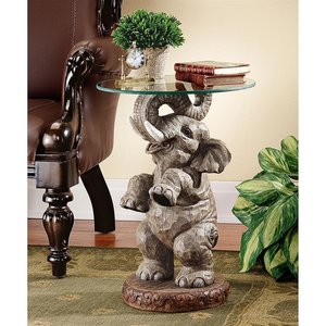 Good Fortune Elephant Glass-Topped Table
