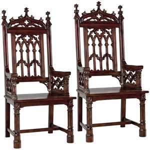 Gothic Tracery Cathedral Chair: Set of Two