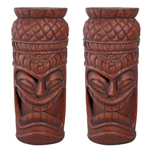 Grand Island Tiki Cocktail Console Statue: Set of Two