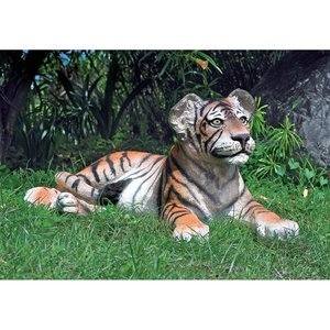 The Grand-Scale Lying Down Bengal Tiger Cub Statue