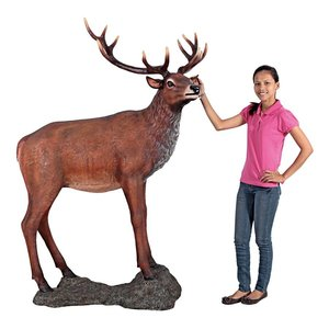 Grand-Scale Red Deer Buck Statues with Base